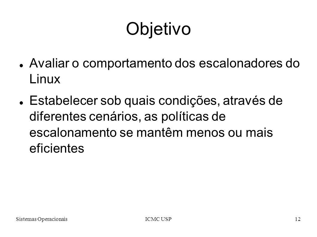 Sistemas OperacionaisICMC USP12 Objetivo Avaliar o comportamento dos escalonadores do Linux Estabelecer sob quais condições, através de diferentes cenários, as políticas de escalonamento se mantêm menos ou mais eficientes