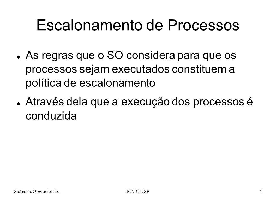 Sistemas OperacionaisICMC USP5 Escalonamento de Processos Características que um escalonador de processos deve apresentar: Justiça; Eficiência; Minimizar o Tempo de Resposta; Maximizar Throughput.