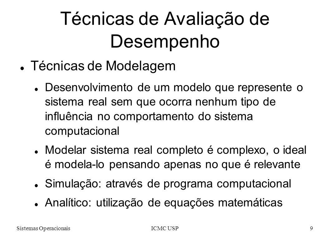 Sistemas OperacionaisICMC USP9 Técnicas de Avaliação de Desempenho Técnicas de Modelagem Desenvolvimento de um modelo que represente o sistema real sem que ocorra nenhum tipo de influência no comportamento do sistema computacional Modelar sistema real completo é complexo, o ideal é modela-lo pensando apenas no que é relevante Simulação: através de programa computacional Analítico: utilização de equações matemáticas