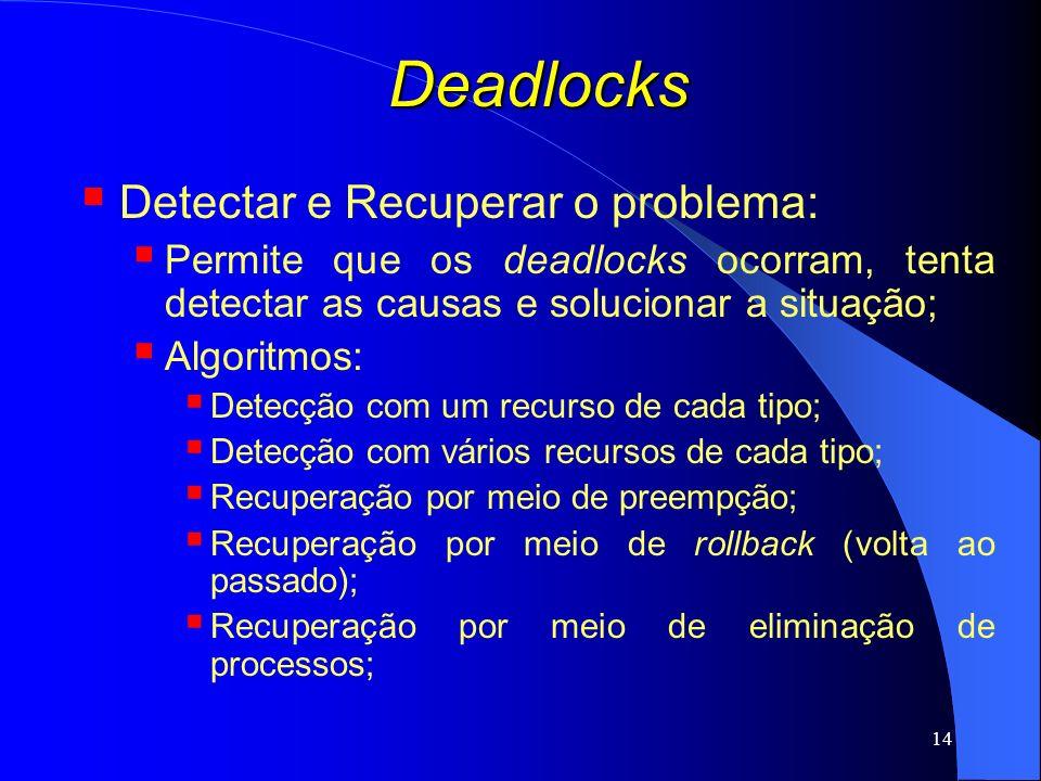 14 Deadlocks Detectar e Recuperar o problema: Permite que os deadlocks ocorram, tenta detectar as causas e solucionar a situação; Algoritmos: Detecção