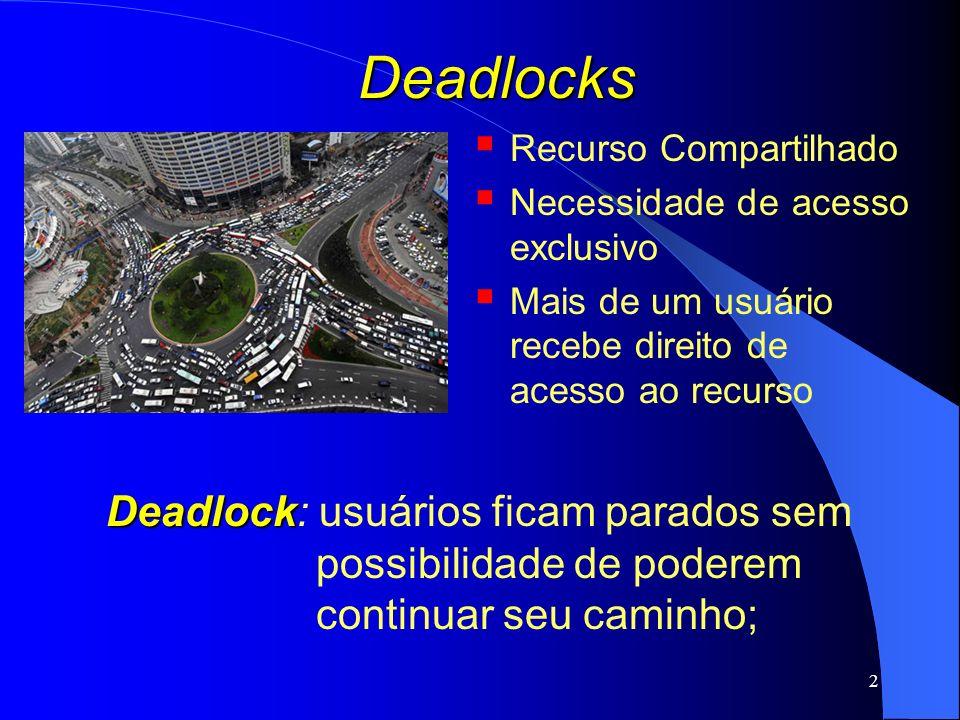 23 Deadlocks Recuperação de Deadlocks: Por meio de preempção: possibilidade de retirar temporariamente um recurso de seu atual dono (processo) e entregá-lo a outro processo; Por meio de rollback: recursos alocados a um processo são armazenados em arquivos de verificação; quando ocorre um deadlock, os processos voltam ao estado no qual estavam antes do deadlock; Por meio de eliminação de processos: processos que estão no ciclo com deadlock são retirados do ciclo; processos que não causam algum efeito negativo ao sistema; Ex1.: compilação – sem problemas; Ex2.: atualização de um base de dados – problemas;