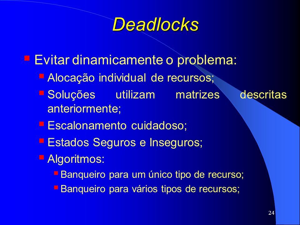24 Deadlocks Evitar dinamicamente o problema: Alocação individual de recursos; Soluções utilizam matrizes descritas anteriormente; Escalonamento cuida