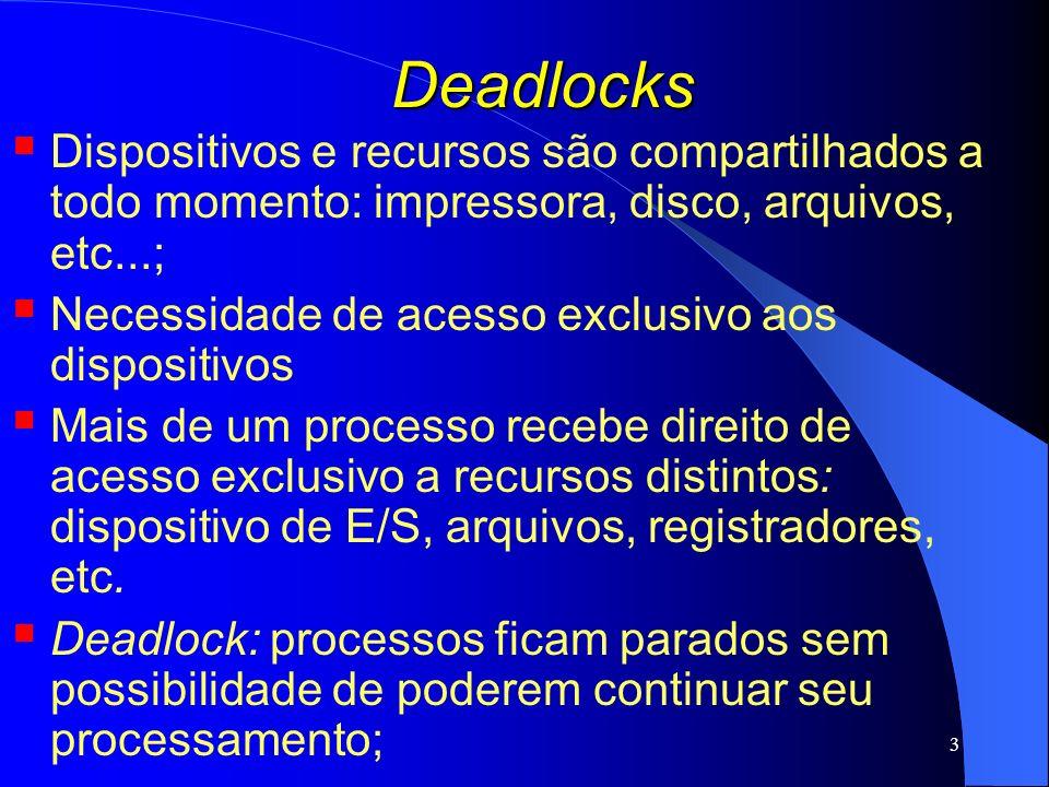 14 Deadlocks Detectar e Recuperar o problema: Permite que os deadlocks ocorram, tenta detectar as causas e solucionar a situação; Algoritmos: Detecção com um recurso de cada tipo; Detecção com vários recursos de cada tipo; Recuperação por meio de preempção; Recuperação por meio de rollback (volta ao passado); Recuperação por meio de eliminação de processos;