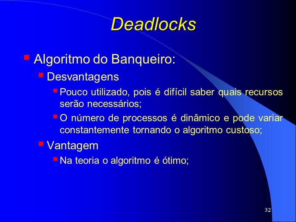 32 Deadlocks Algoritmo do Banqueiro: Desvantagens Pouco utilizado, pois é difícil saber quais recursos serão necessários; O número de processos é dinâ