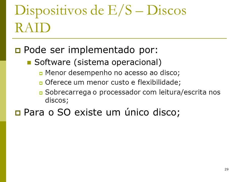 29 Dispositivos de E/S – Discos RAID Pode ser implementado por: Software (sistema operacional) Menor desempenho no acesso ao disco; Oferece um menor custo e flexibilidade; Sobrecarrega o processador com leitura/escrita nos discos; Para o SO existe um único disco;