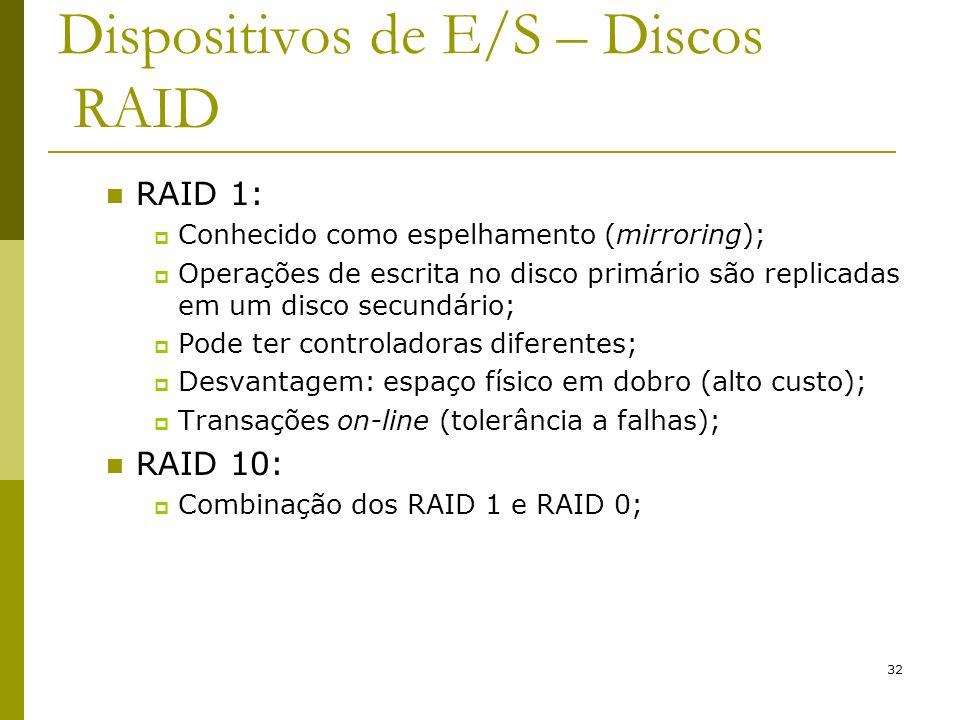 32 Dispositivos de E/S – Discos RAID RAID 1: Conhecido como espelhamento (mirroring); Operações de escrita no disco primário são replicadas em um disco secundário; Pode ter controladoras diferentes; Desvantagem: espaço físico em dobro (alto custo); Transações on-line (tolerância a falhas); RAID 10: Combinação dos RAID 1 e RAID 0;