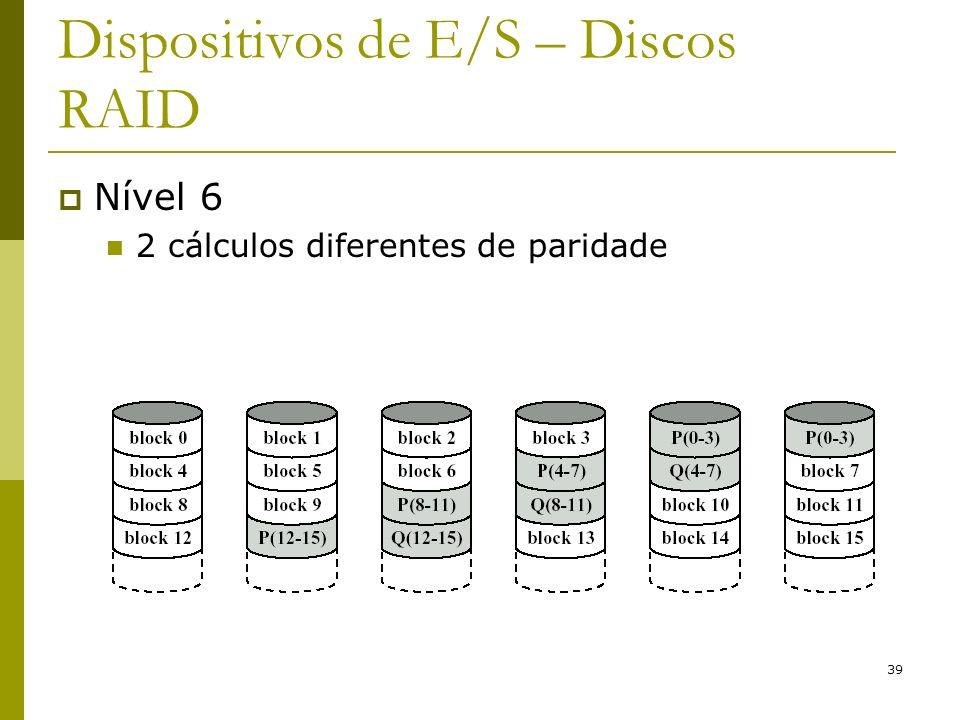 39 Dispositivos de E/S – Discos RAID Nível 6 2 cálculos diferentes de paridade