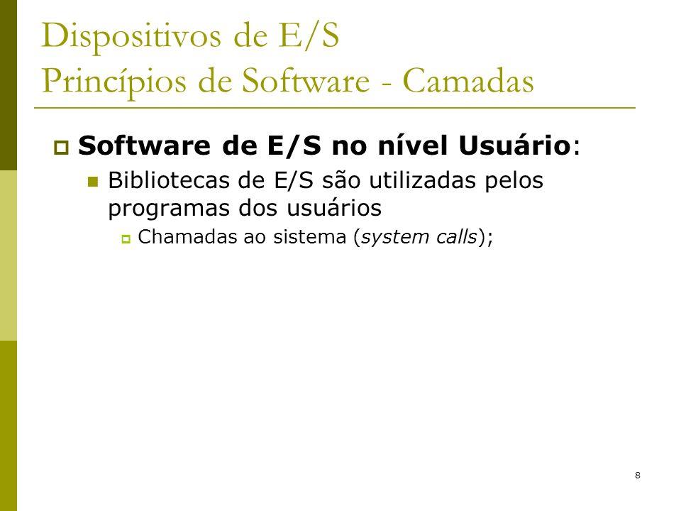 8 Dispositivos de E/S Princípios de Software - Camadas Software de E/S no nível Usuário: Bibliotecas de E/S são utilizadas pelos programas dos usuários Chamadas ao sistema (system calls);