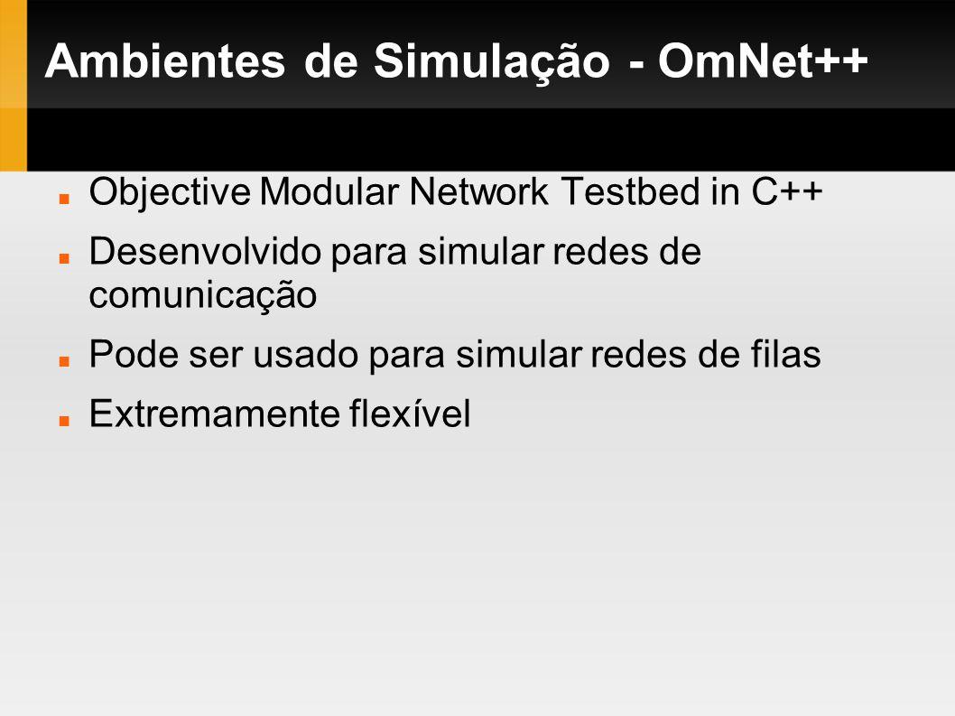 Ambientes de Simulação - OmNet++ Objective Modular Network Testbed in C++ Desenvolvido para simular redes de comunicação Pode ser usado para simular r