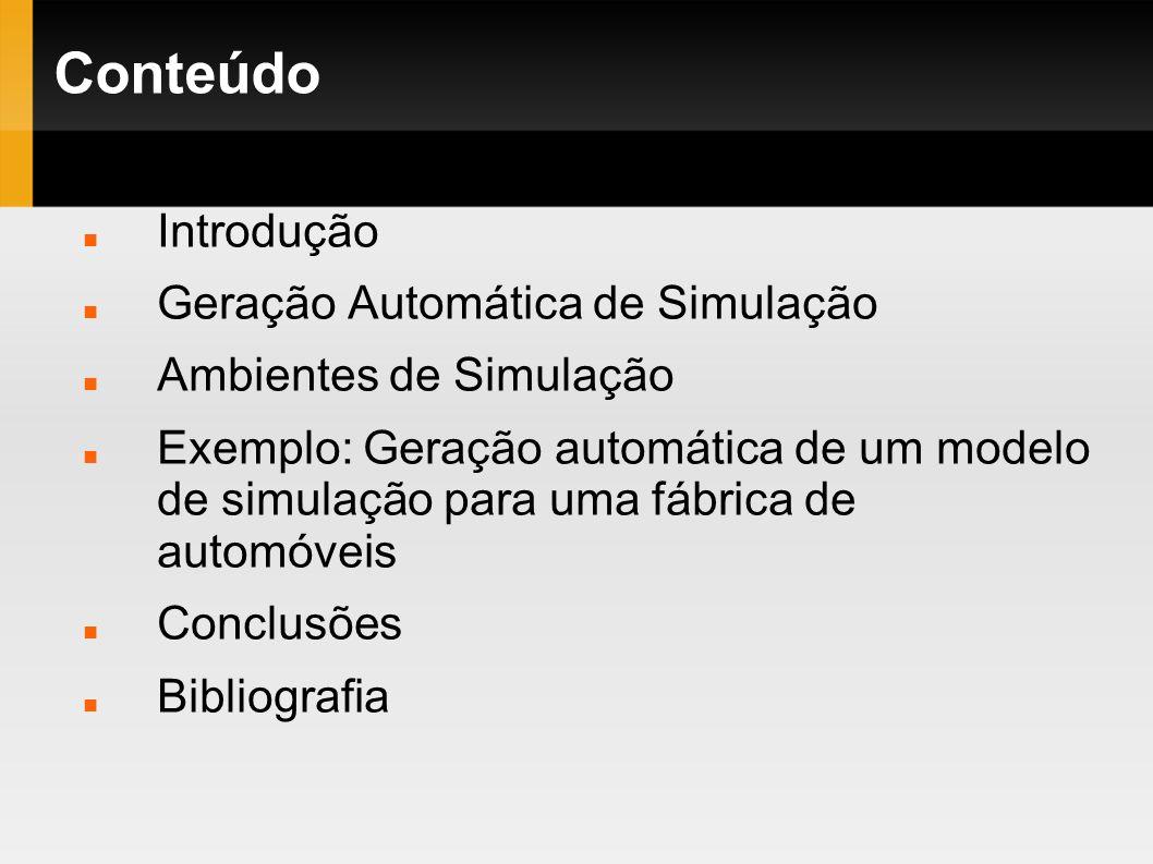 Conteúdo Introdução Geração Automática de Simulação Ambientes de Simulação Exemplo: Geração automática de um modelo de simulação para uma fábrica de a