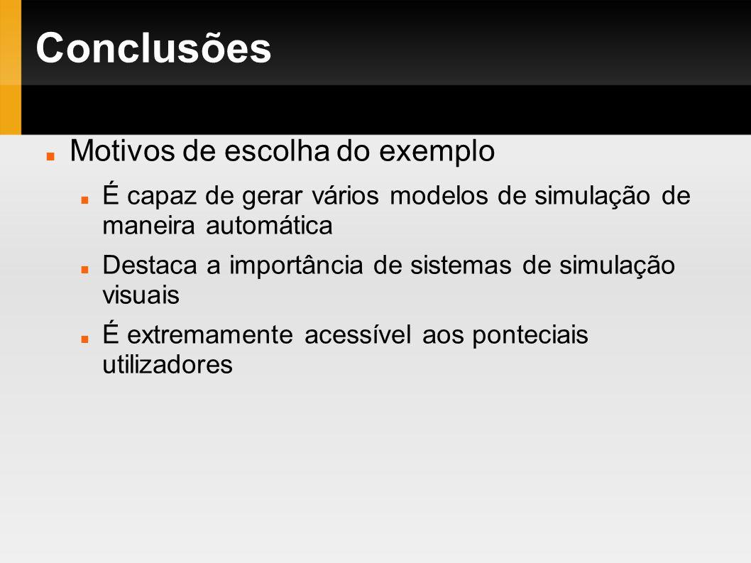 Conclusões Motivos de escolha do exemplo É capaz de gerar vários modelos de simulação de maneira automática Destaca a importância de sistemas de simul