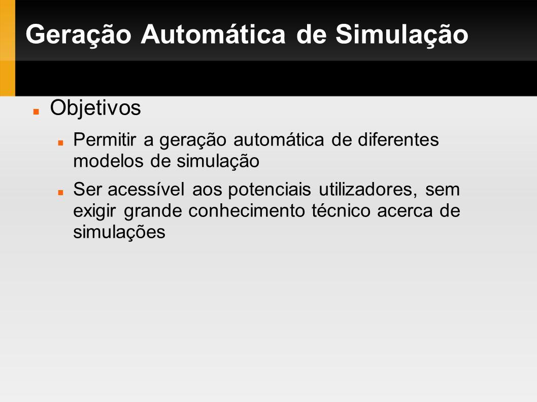 Geração Automática de Simulação Objetivos Permitir a geração automática de diferentes modelos de simulação Ser acessível aos potenciais utilizadores,