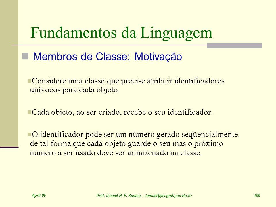 April 05 Prof. Ismael H. F. Santos - ismael@tecgraf.puc-rio.br 100 Fundamentos da Linguagem Membros de Classe: Motivação Considere uma classe que prec