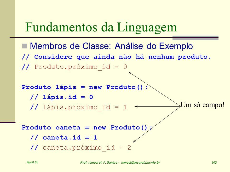 April 05 Prof. Ismael H. F. Santos - ismael@tecgraf.puc-rio.br 102 Fundamentos da Linguagem Membros de Classe: Análise do Exemplo // Considere que ain