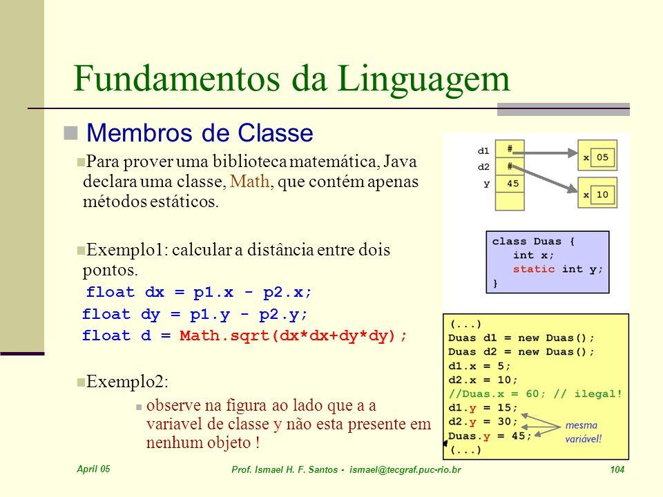 April 05 Prof. Ismael H. F. Santos - ismael@tecgraf.puc-rio.br 104 Fundamentos da Linguagem Membros de Classe Para prover uma biblioteca matemática, J