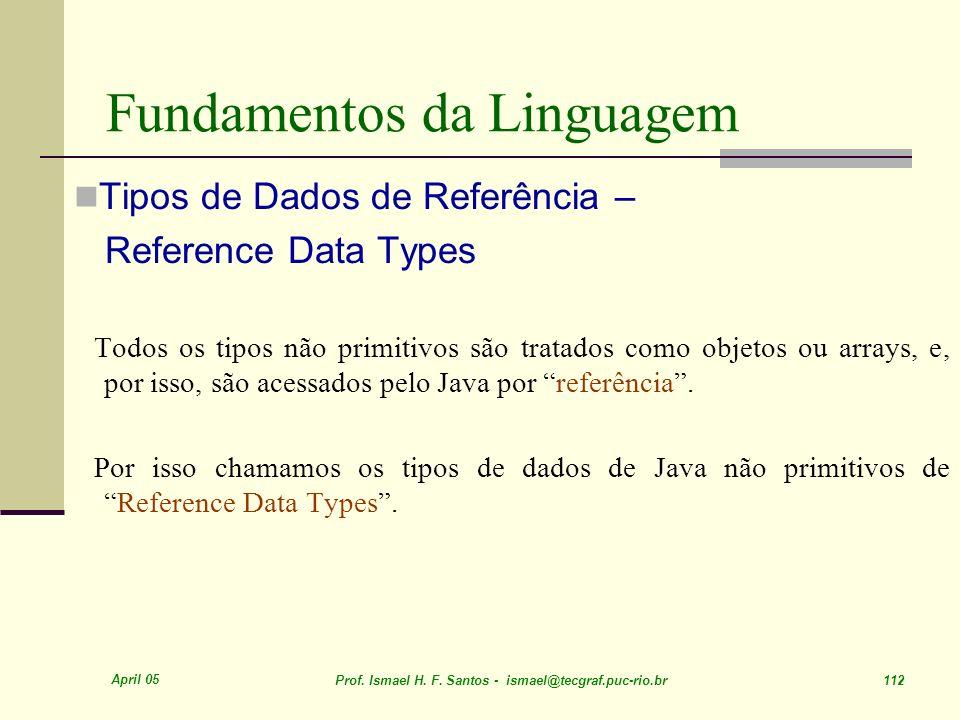 April 05 Prof. Ismael H. F. Santos - ismael@tecgraf.puc-rio.br 112 Fundamentos da Linguagem Tipos de Dados de Referência – Reference Data Types Todos