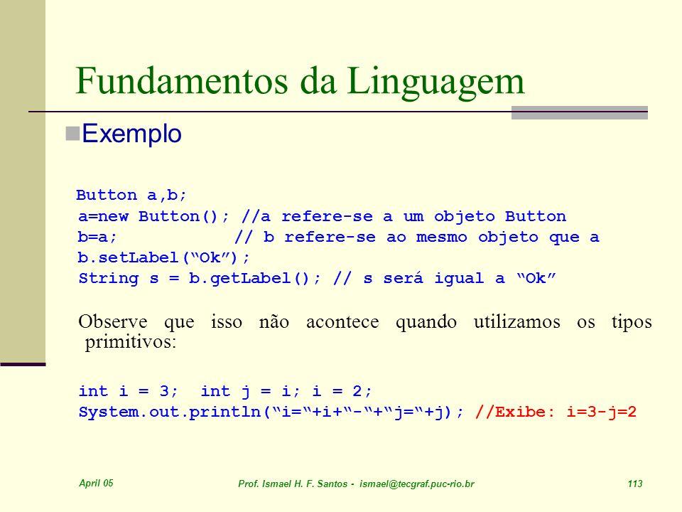 April 05 Prof. Ismael H. F. Santos - ismael@tecgraf.puc-rio.br 113 Fundamentos da Linguagem Exemplo Button a,b; a=new Button(); //a refere-se a um obj