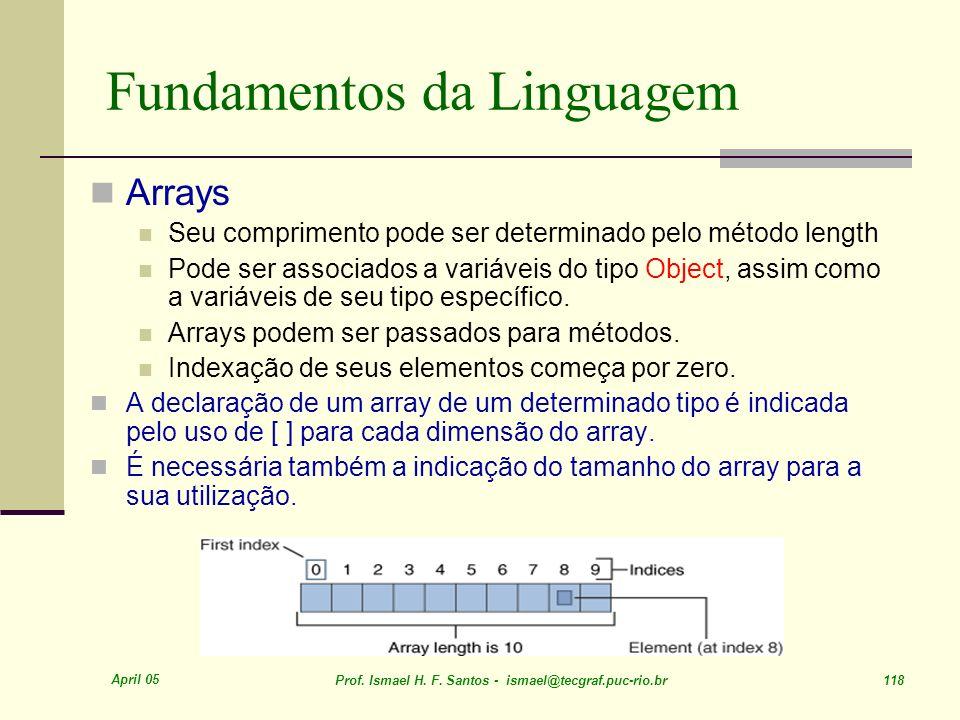 April 05 Prof. Ismael H. F. Santos - ismael@tecgraf.puc-rio.br 118 Fundamentos da Linguagem Arrays Seu comprimento pode ser determinado pelo método le