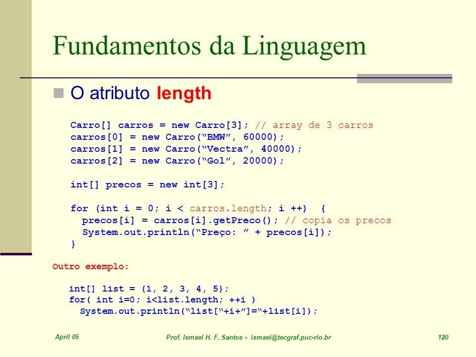 April 05 Prof. Ismael H. F. Santos - ismael@tecgraf.puc-rio.br 120 Fundamentos da Linguagem O atributo length Carro[] carros = new Carro[3]; // array