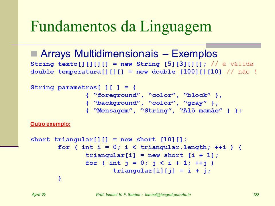 April 05 Prof. Ismael H. F. Santos - ismael@tecgraf.puc-rio.br 122 Fundamentos da Linguagem Arrays Multidimensionais – Exemplos String texto[][][][] =