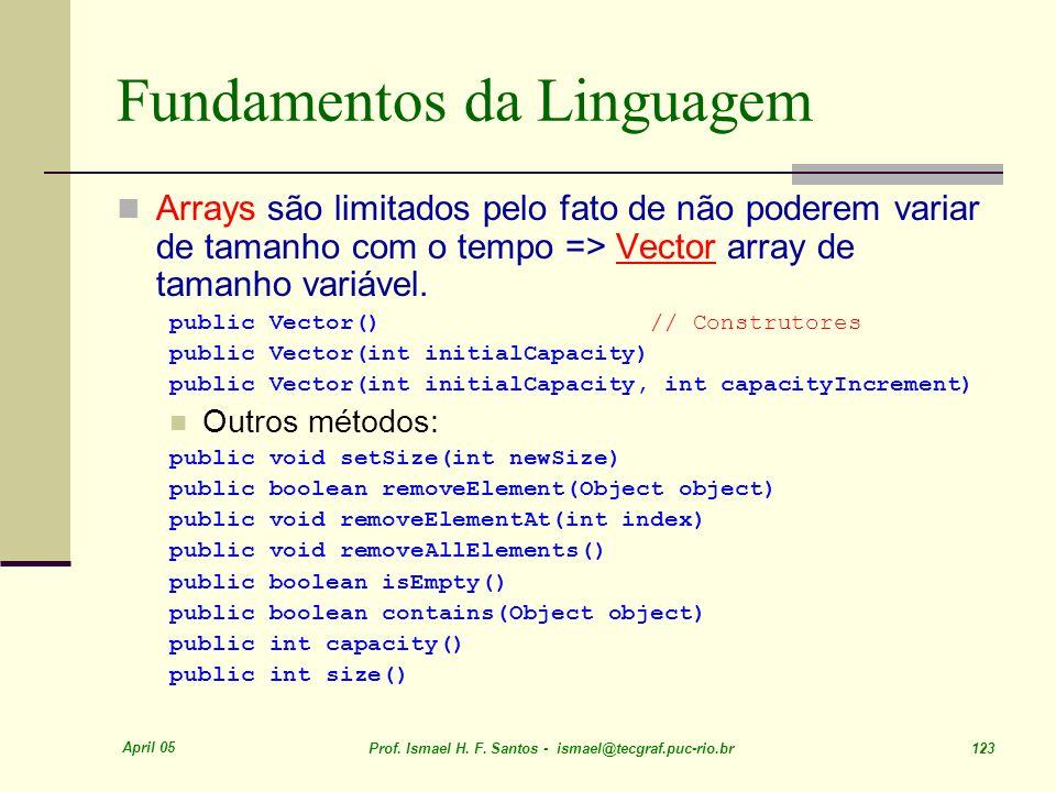 April 05 Prof. Ismael H. F. Santos - ismael@tecgraf.puc-rio.br 123 Fundamentos da Linguagem Arrays são limitados pelo fato de não poderem variar de ta