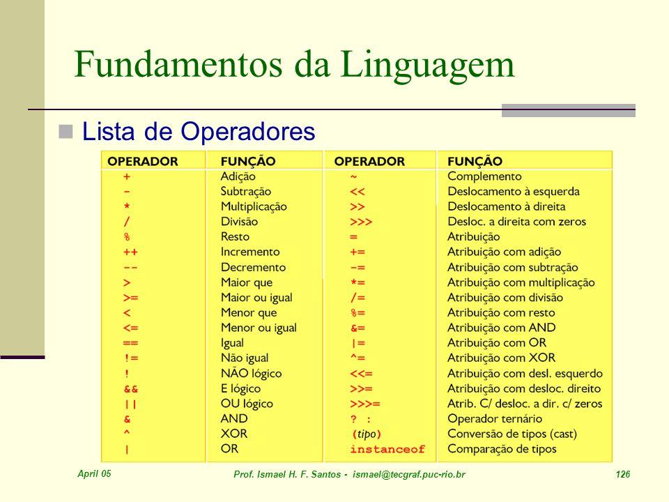 April 05 Prof. Ismael H. F. Santos - ismael@tecgraf.puc-rio.br 126 Fundamentos da Linguagem Lista de Operadores