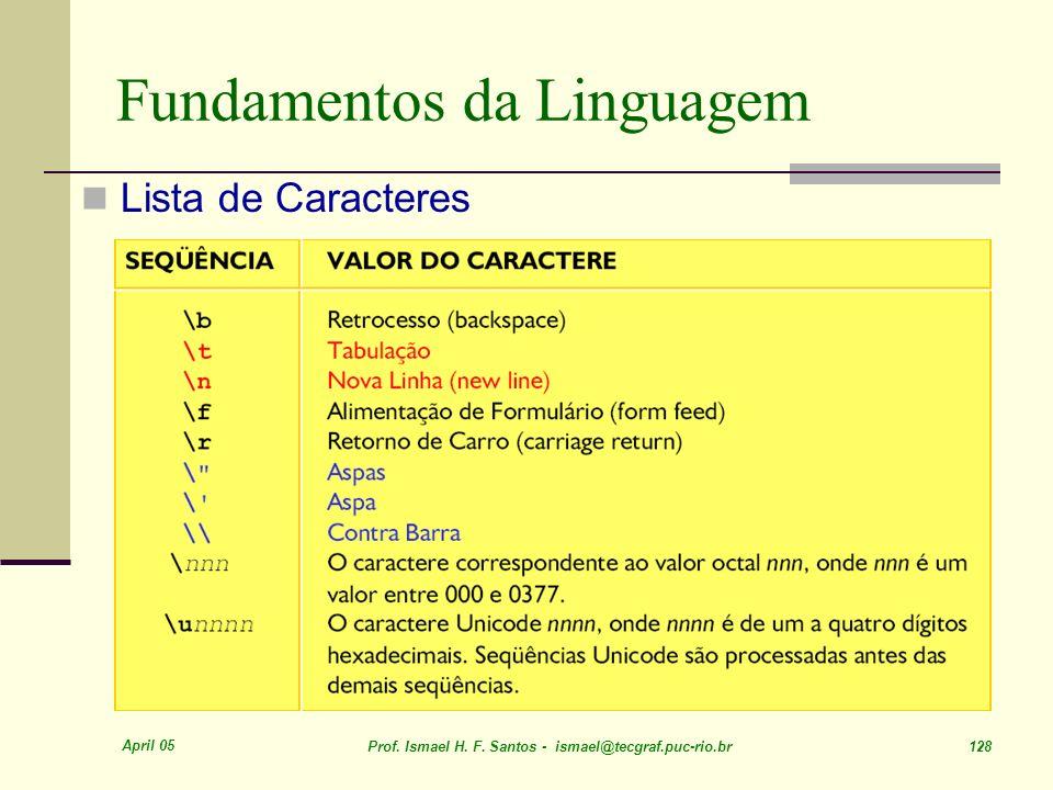April 05 Prof. Ismael H. F. Santos - ismael@tecgraf.puc-rio.br 128 Fundamentos da Linguagem Lista de Caracteres