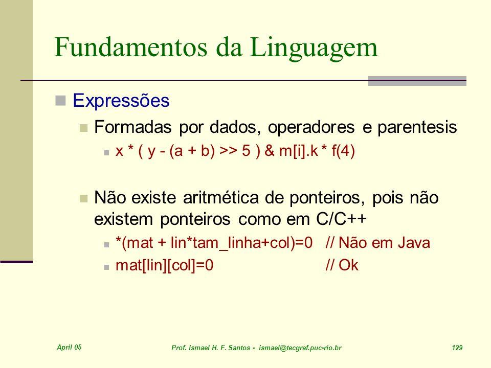 April 05 Prof. Ismael H. F. Santos - ismael@tecgraf.puc-rio.br 129 Fundamentos da Linguagem Expressões Formadas por dados, operadores e parentesis x *