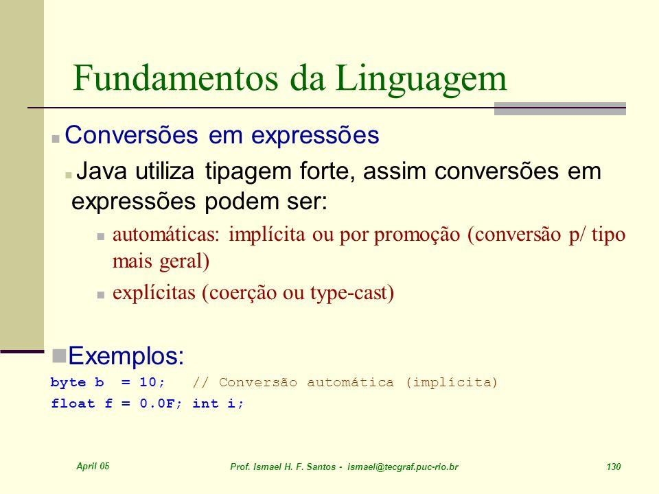 April 05 Prof. Ismael H. F. Santos - ismael@tecgraf.puc-rio.br 130 Fundamentos da Linguagem Conversões em expressões Java utiliza tipagem forte, assim