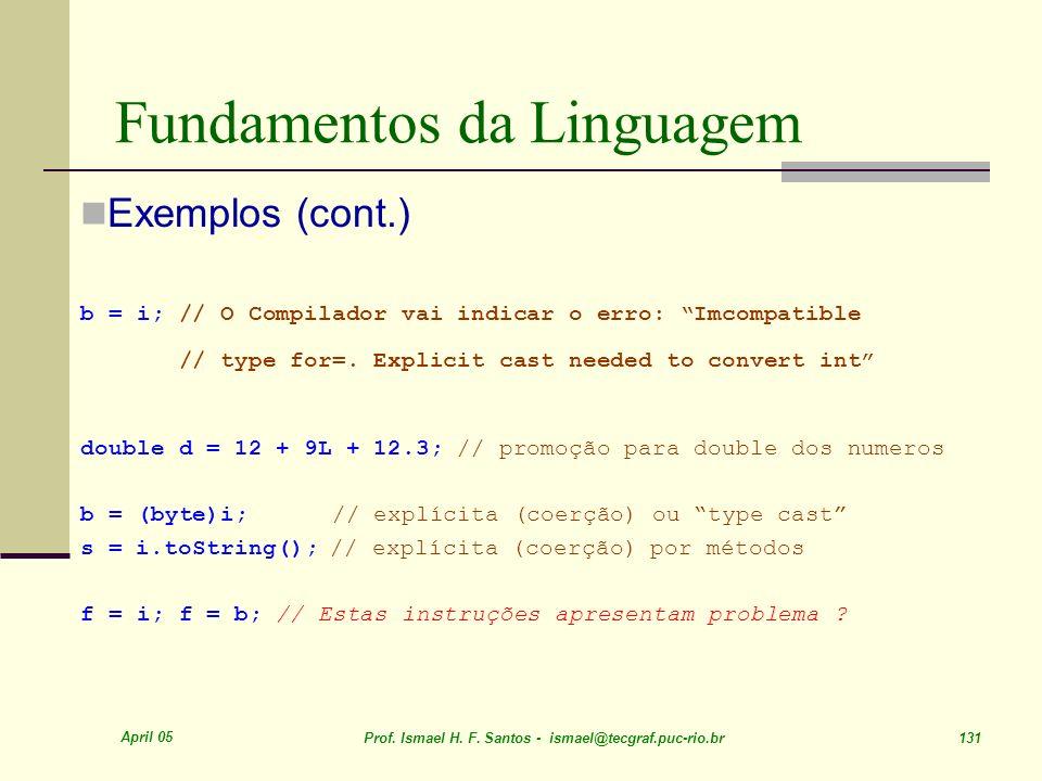 April 05 Prof. Ismael H. F. Santos - ismael@tecgraf.puc-rio.br 131 Fundamentos da Linguagem Exemplos (cont.) b = i; // O Compilador vai indicar o erro
