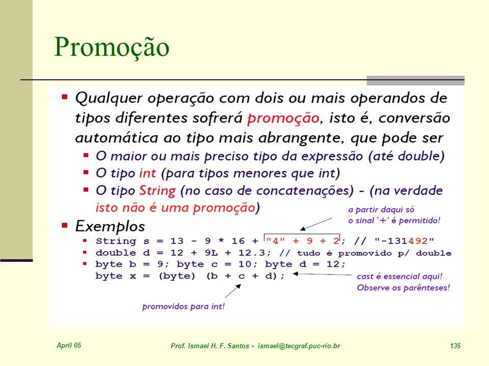 April 05 Prof. Ismael H. F. Santos - ismael@tecgraf.puc-rio.br 135 Promoção