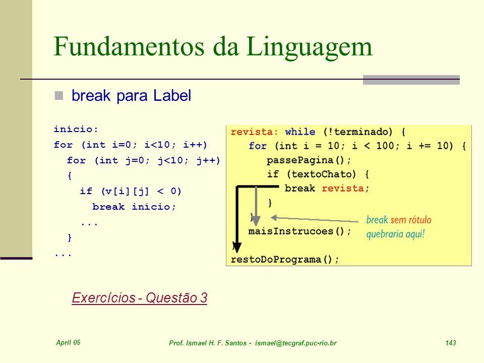 April 05 Prof. Ismael H. F. Santos - ismael@tecgraf.puc-rio.br 143 Fundamentos da Linguagem break para Label início: for (int i=0; i<10; i++) for (int