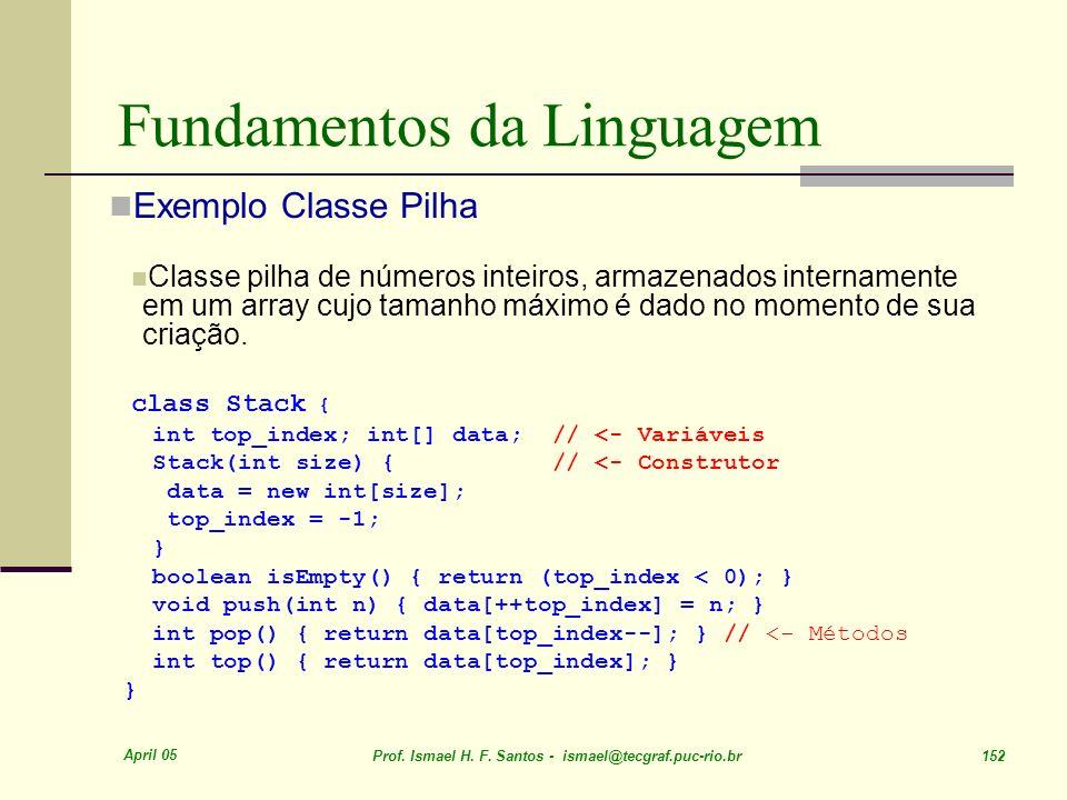 April 05 Prof. Ismael H. F. Santos - ismael@tecgraf.puc-rio.br 152 Fundamentos da Linguagem Exemplo Classe Pilha Classe pilha de números inteiros, arm