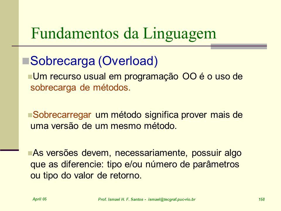 April 05 Prof. Ismael H. F. Santos - ismael@tecgraf.puc-rio.br 158 Fundamentos da Linguagem Sobrecarga (Overload) Um recurso usual em programação OO é