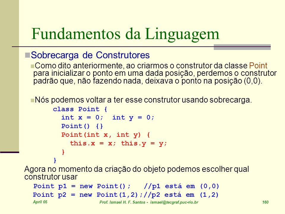 April 05 Prof. Ismael H. F. Santos - ismael@tecgraf.puc-rio.br 160 Fundamentos da Linguagem Sobrecarga de Construtores Como dito anteriormente, ao cri
