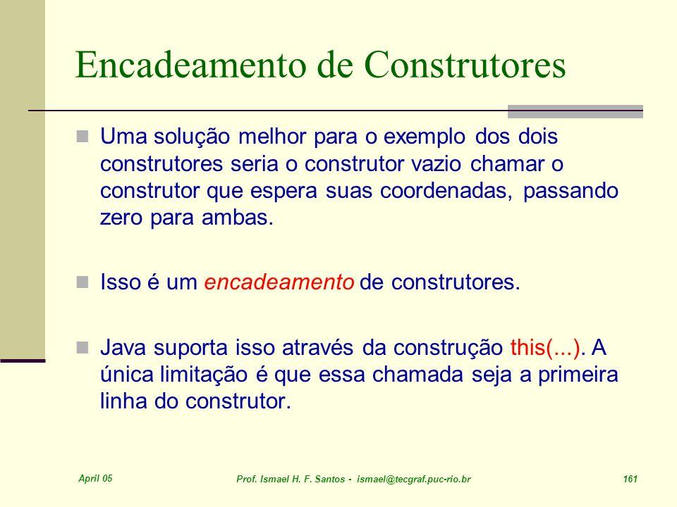 April 05 Prof. Ismael H. F. Santos - ismael@tecgraf.puc-rio.br 161 Encadeamento de Construtores Uma solução melhor para o exemplo dos dois construtore