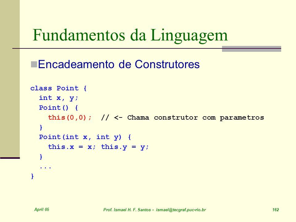April 05 Prof. Ismael H. F. Santos - ismael@tecgraf.puc-rio.br 162 Fundamentos da Linguagem Encadeamento de Construtores class Point { int x, y; Point
