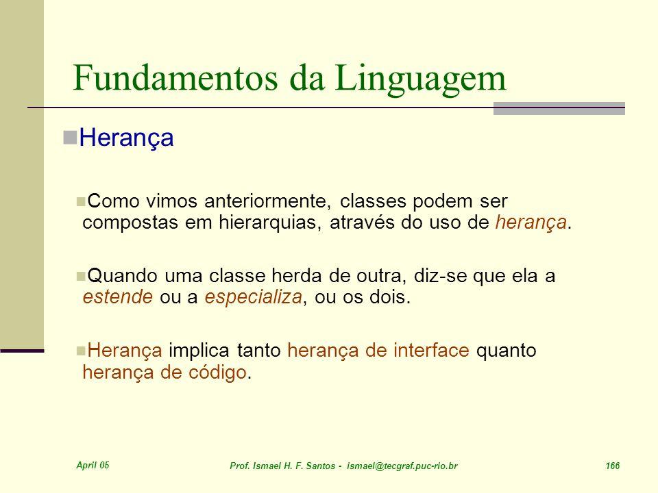 April 05 Prof. Ismael H. F. Santos - ismael@tecgraf.puc-rio.br 166 Fundamentos da Linguagem Herança Como vimos anteriormente, classes podem ser compos