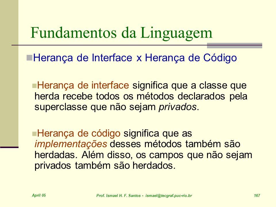 April 05 Prof. Ismael H. F. Santos - ismael@tecgraf.puc-rio.br 167 Fundamentos da Linguagem Herança de Interface x Herança de Código Herança de interf
