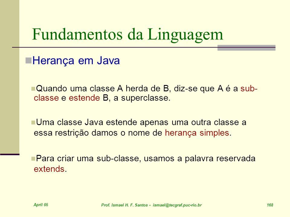 April 05 Prof. Ismael H. F. Santos - ismael@tecgraf.puc-rio.br 168 Fundamentos da Linguagem Herança em Java Quando uma classe A herda de B, diz-se que