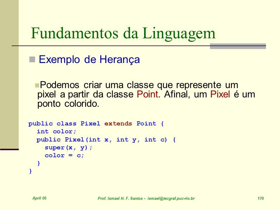 April 05 Prof. Ismael H. F. Santos - ismael@tecgraf.puc-rio.br 170 Fundamentos da Linguagem Exemplo de Herança Podemos criar uma classe que represente