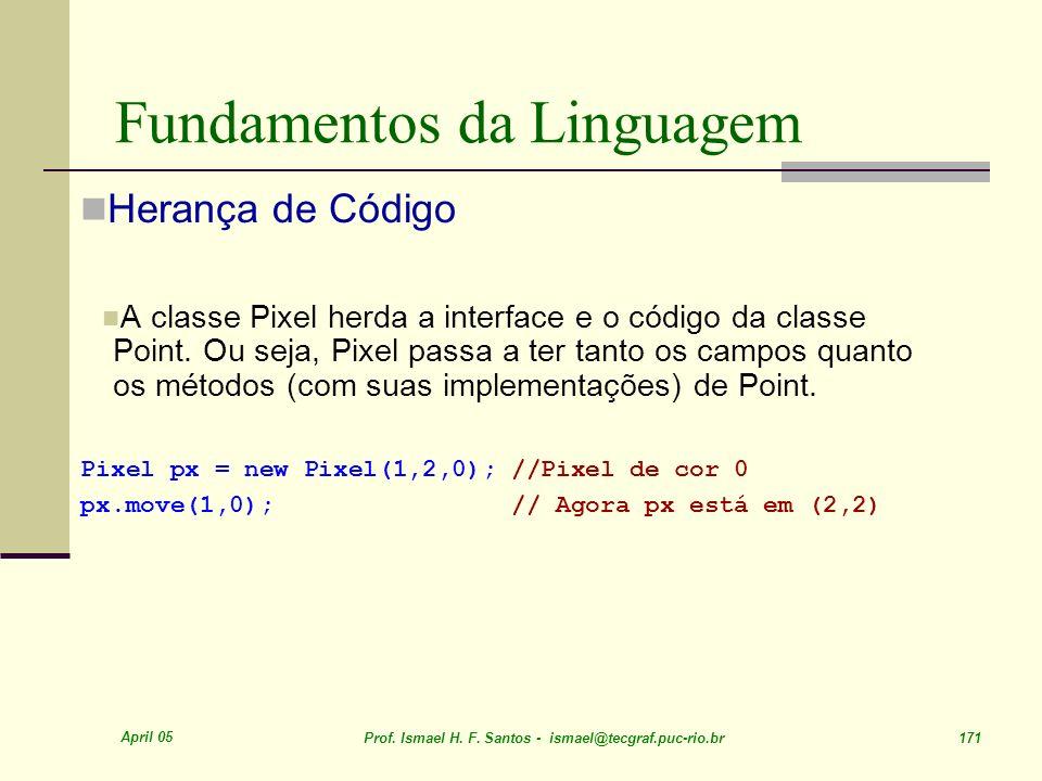 April 05 Prof. Ismael H. F. Santos - ismael@tecgraf.puc-rio.br 171 Fundamentos da Linguagem Herança de Código A classe Pixel herda a interface e o cód