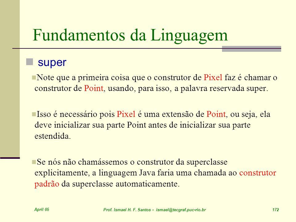 April 05 Prof. Ismael H. F. Santos - ismael@tecgraf.puc-rio.br 172 Fundamentos da Linguagem super Note que a primeira coisa que o construtor de Pixel