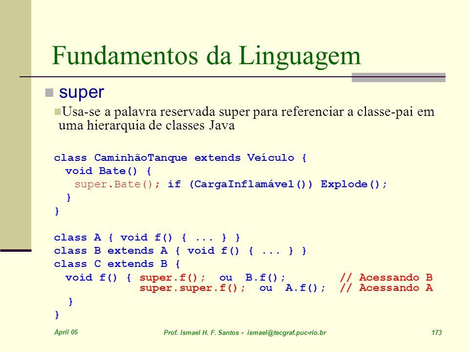 April 05 Prof. Ismael H. F. Santos - ismael@tecgraf.puc-rio.br 173 Fundamentos da Linguagem super Usa-se a palavra reservada super para referenciar a