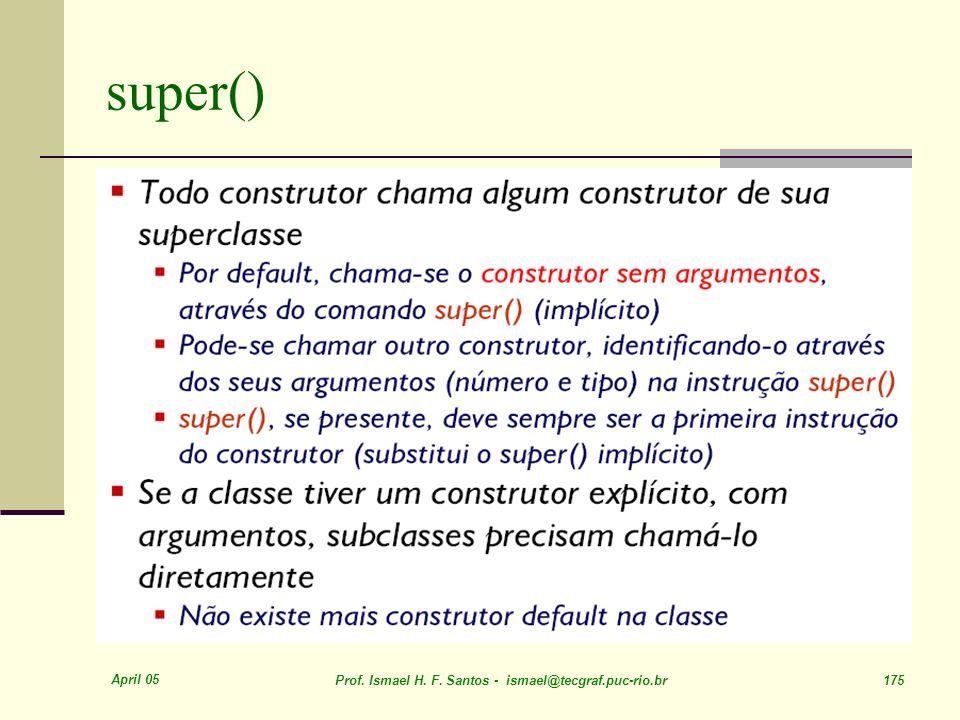 April 05 Prof. Ismael H. F. Santos - ismael@tecgraf.puc-rio.br 175 super()