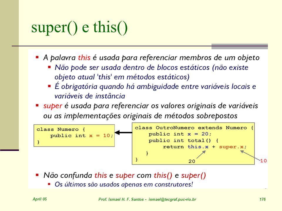 April 05 Prof. Ismael H. F. Santos - ismael@tecgraf.puc-rio.br 176 super() e this()
