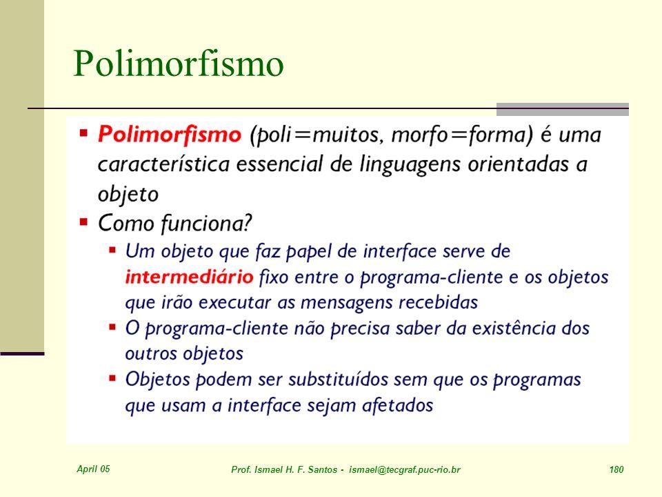April 05 Prof. Ismael H. F. Santos - ismael@tecgraf.puc-rio.br 180 Polimorfismo