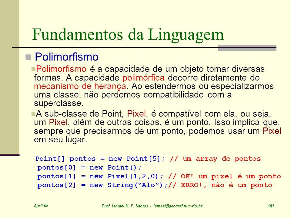 April 05 Prof. Ismael H. F. Santos - ismael@tecgraf.puc-rio.br 181 Fundamentos da Linguagem Polimorfismo Polimorfismo é a capacidade de um objeto toma