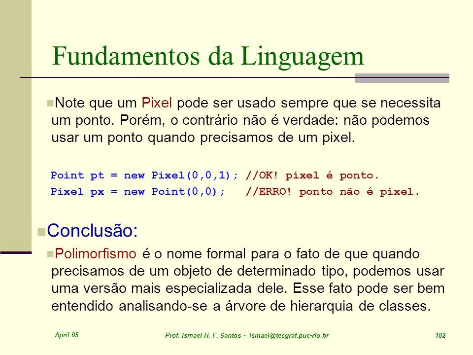 April 05 Prof. Ismael H. F. Santos - ismael@tecgraf.puc-rio.br 182 Fundamentos da Linguagem Note que um Pixel pode ser usado sempre que se necessita u