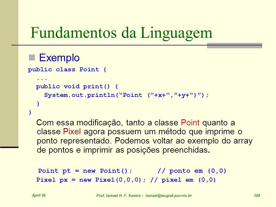 April 05 Prof. Ismael H. F. Santos - ismael@tecgraf.puc-rio.br 184 Fundamentos da Linguagem Exemplo public class Point {... public void print() { Syst